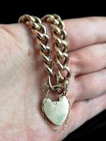 Antique Victorian 9ct Rose Gold Curb Bracelet, Heart Padlock (12 of 13)