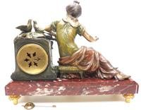 Wonderful French Figural Mantel Clock Lady Reclining 8 Day Mantle Clock with side Urns (8 of 12)