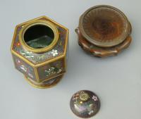 Japanese Cloisonne Lidded Vase on Hardwood Stand (7 of 7)