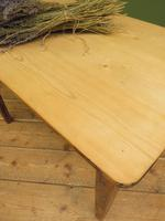 Small Antique Pine Scrub Top Kitchen Table, Top Stripped Ready for Use (9 of 16)