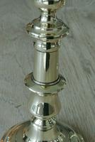 """Good Pair of Victorian Brass Candlesticks c.1860 Round Base 8.5"""" - Polished (4 of 5)"""