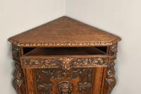 Antique Carved Oak Green Man Corner Cabinet (7 of 7)
