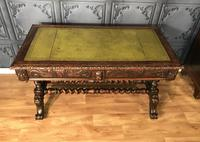 Victorian Carved Oak Desk Library Table (7 of 25)