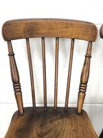 Pair of Antique Elm Farmhouse Kitchen Chairs (4 of 8)