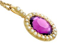 6.56 ct Amethyst and Pearl, 15 ct Yellow Gold Pendant - Antique Circa 1890 (9 of 12)