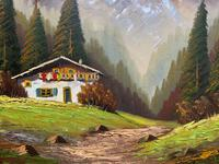 The Alpine Chalet - Swiss School - A Vintage Snow-capped Landscape Oil Painting (7 of 12)