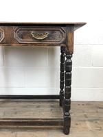 Antique Oak Side Table with Geometric Drawers (10 of 10)