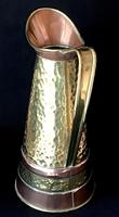 Arts & Crafts Brass & Copper Planished Jug (3 of 5)