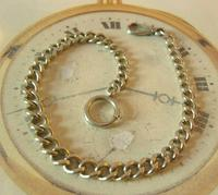 Antique Pocket Watch Chain 1890s Victorian Large Silver Nickel Graduated Link Albert (4 of 10)