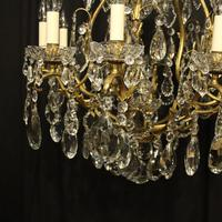 French Gilded Bronze & Crystal 11 Light Birdcage Chandelier (3 of 10)