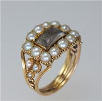 Georgian 15ct Gold Pearl Antique Memorial English Ring c.1800 (9 of 20)