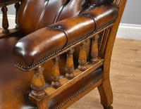 Pair of Victorian Hand Dyed Leather Library Chairs (4 of 13)
