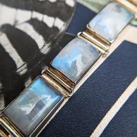 Vintage Sterling Silver Moonstone Panel Bracelet (3 of 11)