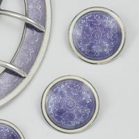 Fine Edwardian Silver & Lilac Guilloche Enamel Buckle & 6 Dress Studs (5 of 8)
