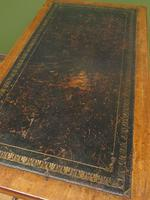 Antique Writing Table with Drawers and Aged Leather Top (16 of 19)