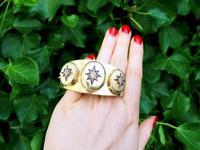 0.49ct Diamond & 18ct Yellow Gold Triple-locket Bangle - Antique c.1880 (2 of 12)