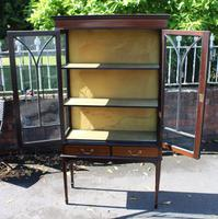 1920s Mahogany 2 Door Glass China Cabinet with Drawers (2 of 5)