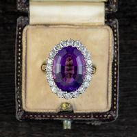 Vintage Amethyst Diamond Cocktail Ring 18ct Gold 12ct Amethyst Circa 1980 (2 of 8)