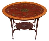 19th Century Decorated Satinwood & Mahogany Table  / Occasional Table (2 of 6)