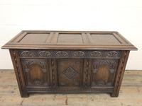 Early 20th Century Carved Oak Coffer or Blanket Box (11 of 12)