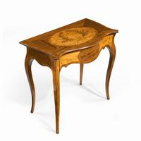 Victorian Inlaid Satinwood & Kingwood Table in the Style of Hepplewhite (10 of 10)
