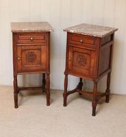 Pair of French Oak Marble Top Bedside Cabinets (6 of 9)