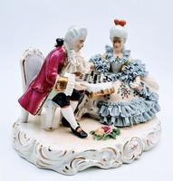 Dresden Germany Figurine Sculpture of Couple Playing Chess (3 of 6)