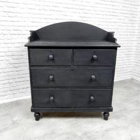 Black Painted Victorian Chest of Drawers (4 of 5)