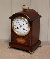 Small Mahogany & Inlay Mantel Clock (8 of 12)