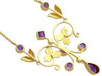 1.45ct Amethyst & Seed Pearl, 15ct Yellow Gold Necklace - Antique c.1880 (5 of 9)