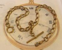 Antique Pocket Watch Chain 1890s Victorian Large Brass Albert With T Bar T*H (2 of 12)