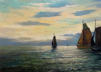 Andries Debeuf Flemish, Stunning Large Moonlit Seascape Oil Painting (3 of 13)