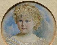 Albany E Howarth ARE Miniature Watercolour Portrait Painting of Little Girl (4 of 11)
