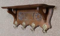 Small Continental Carved Oak Hanging Coat Rack (2 of 7)