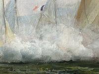 Large Fine Marine Oil Painting Napoleonic French Sea Battle Trafalgar Ships Off Coast (5 of 13)
