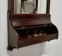 Victorian Mahogany Bathroom Wall Mirror with Towel Rail and Swan Neck Pediment (5 of 5)