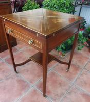 Maple & co Mahogany Inlaid Card Table / Games Table (10 of 14)