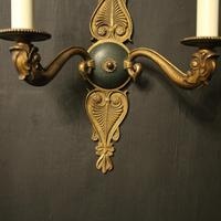 French Pair of Gilded Empire Antique Wall Lights (6 of 10)