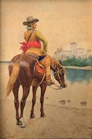 Exceptional Quality 19th Century Miniature Watercolour Painting of Horseman - Cowboy (2 of 11)