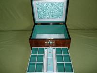Quality Inlaid Burr Walnut Jewellery Box + Tray. c1875. (4 of 12)