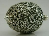 Stunning Indian Eastern Solid Silver Pepper Spice Pot Egg Shaped c.1880 (9 of 9)