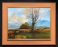 Large Magnificent Extensive Vintage Autumn Country Landscape Oil Painting