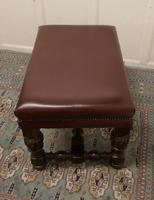 Large Victorian Oak & Leather Library Stool (6 of 6)