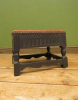 Small Vintage Wooden Black Painted Foot Stool with Brown Leather Top (17 of 17)