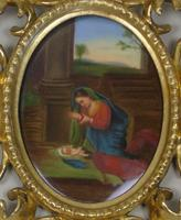 Italian Porcelain Plaque in Giltwood Hand Carved Frame Madonna & Child (2 of 7)
