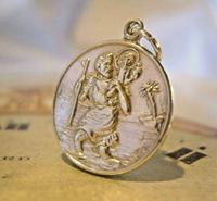 Vintage Pocket Watch Chain Silver St Christopher Fob 1970s Solid Silver Fob