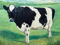 """20th Century Oil Painting Holstein Friesian Prized Cow """"Susan"""" Animal Portrait (4 of 20)"""