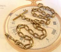 Antique Pocket Watch Chain 1890s Victorian Large Brass Albert With T Bar T*H (4 of 12)