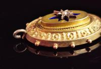 Victorian 9ct Gold Blue Enamel Pendant, Seed Pearl Star (10 of 10)
