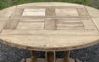 Large Round French Bleached Oak Farmhouse Table with Extensions (14 of 38)